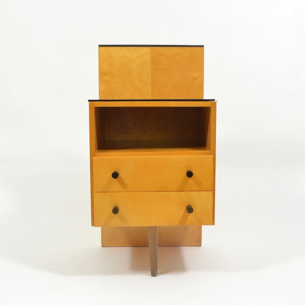 Vintage bedside table with black glass by Jitona, 1960s