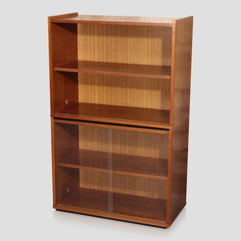 Small scandinavian style vintage teak bookcase with shelves, 1960s