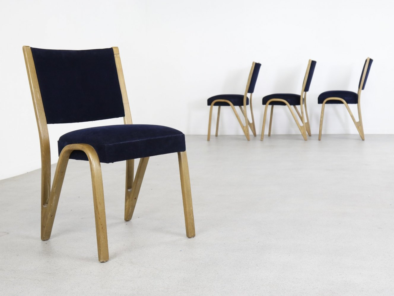 Set of 4 Bow-wood dining chairs by Hugues Steiner for Steiner, 1950s