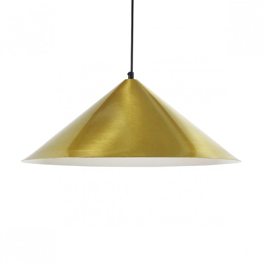Brushed brass cone shaped pendant light, 1970s