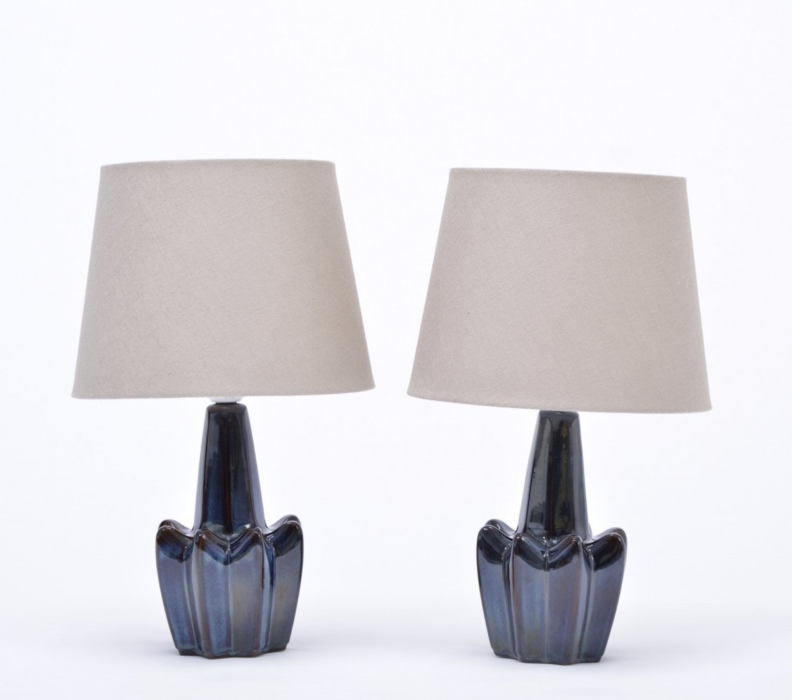Pair of vintage dark blue stoneware lamps model 1046 by Soholm