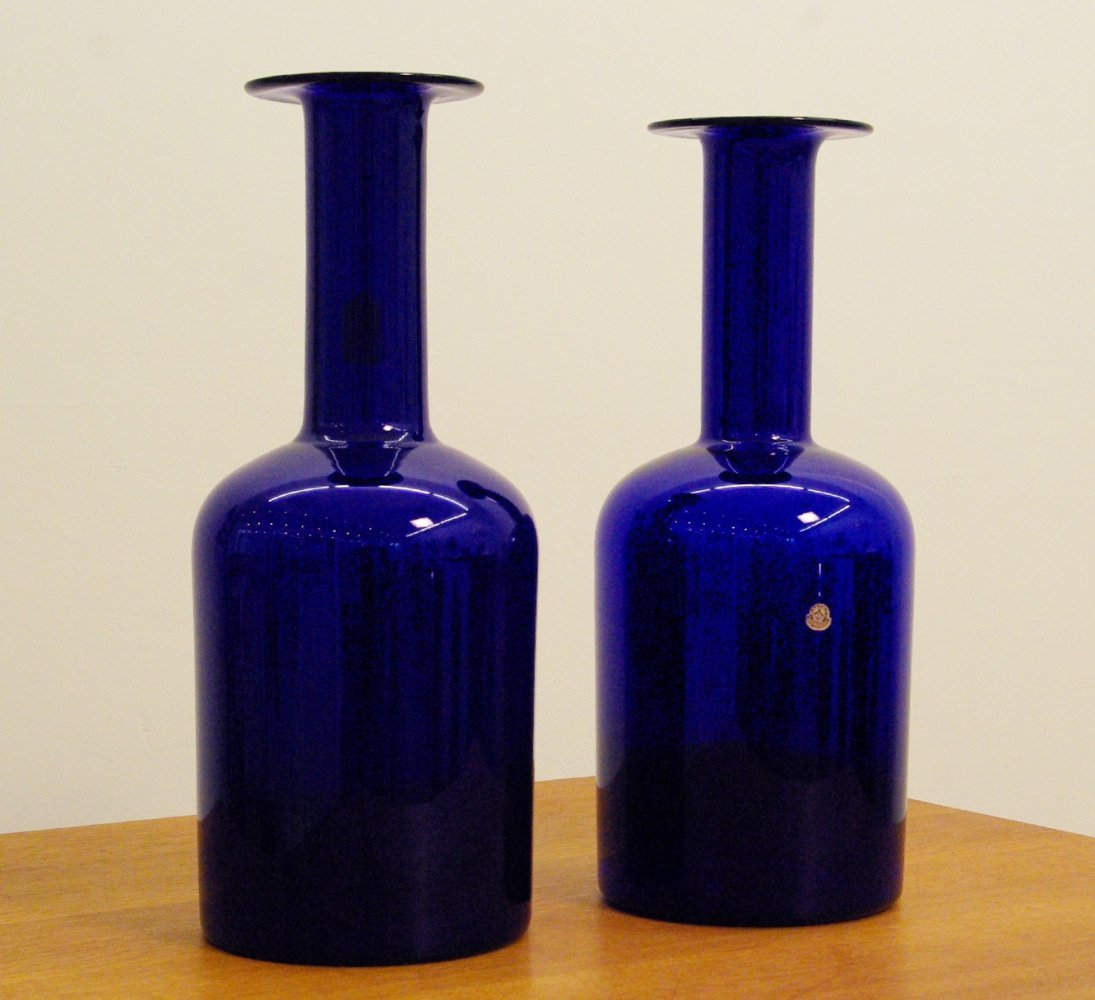 Two big translucent blue vases by Otto Brauer for Holmegaard, 1960s