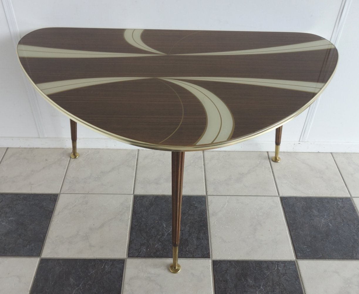 Glass top kidney shaped table by Ilse Möbel, 1950s
