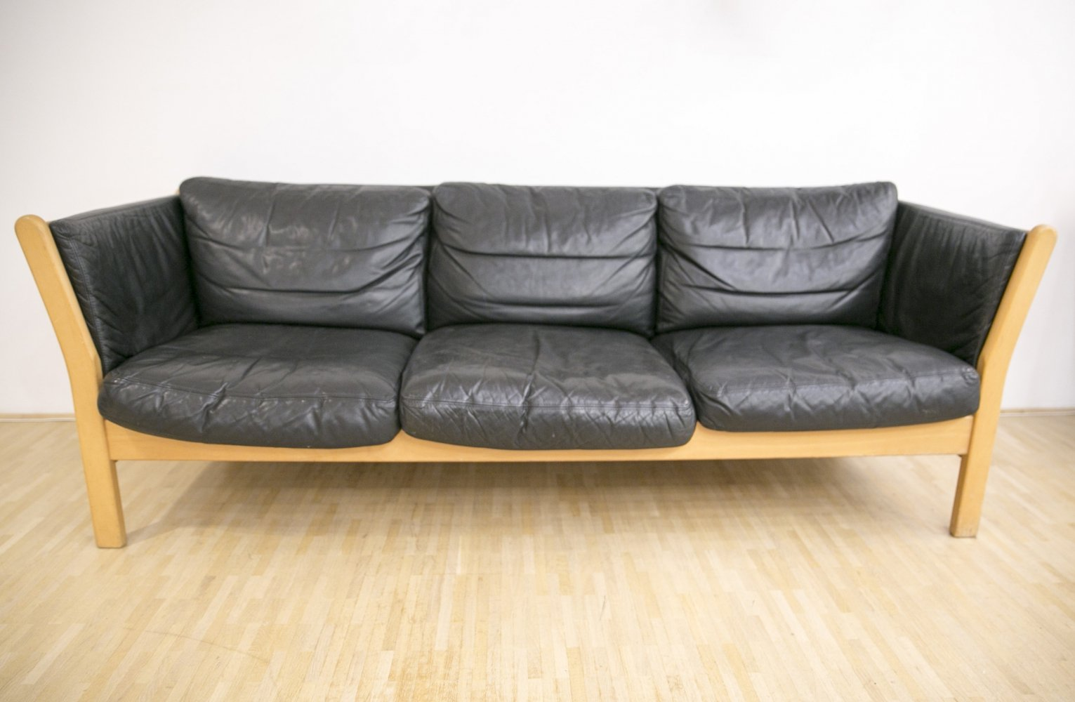 Three seater sofa in black patinated leather, Denmark 1970s