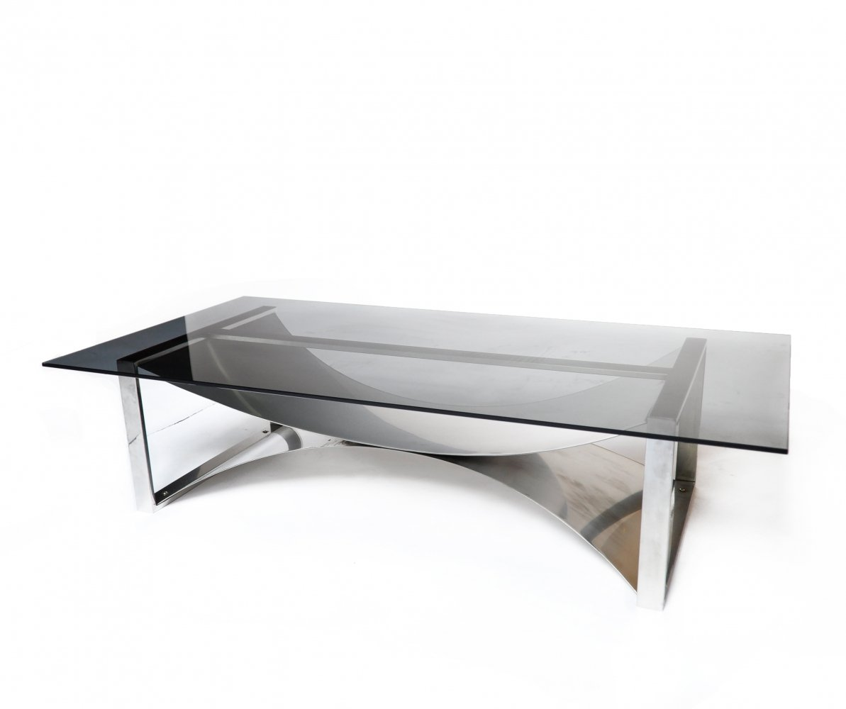 Curved Steel Coffee Table by François Monnet for Kappa, France 1970s