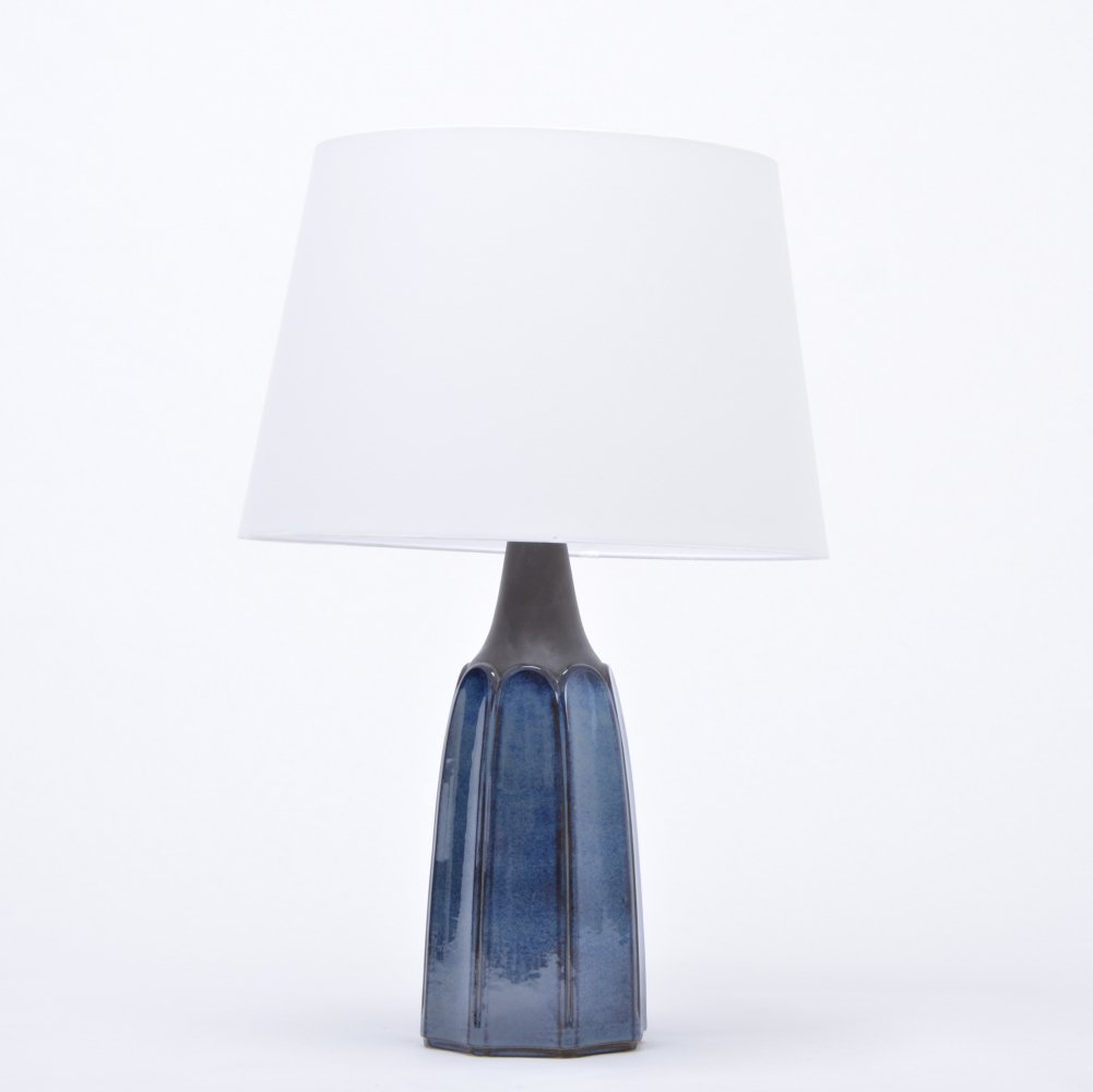 Tall blue stoneware table lamp model 1042 by Einar Johansen for Søholm