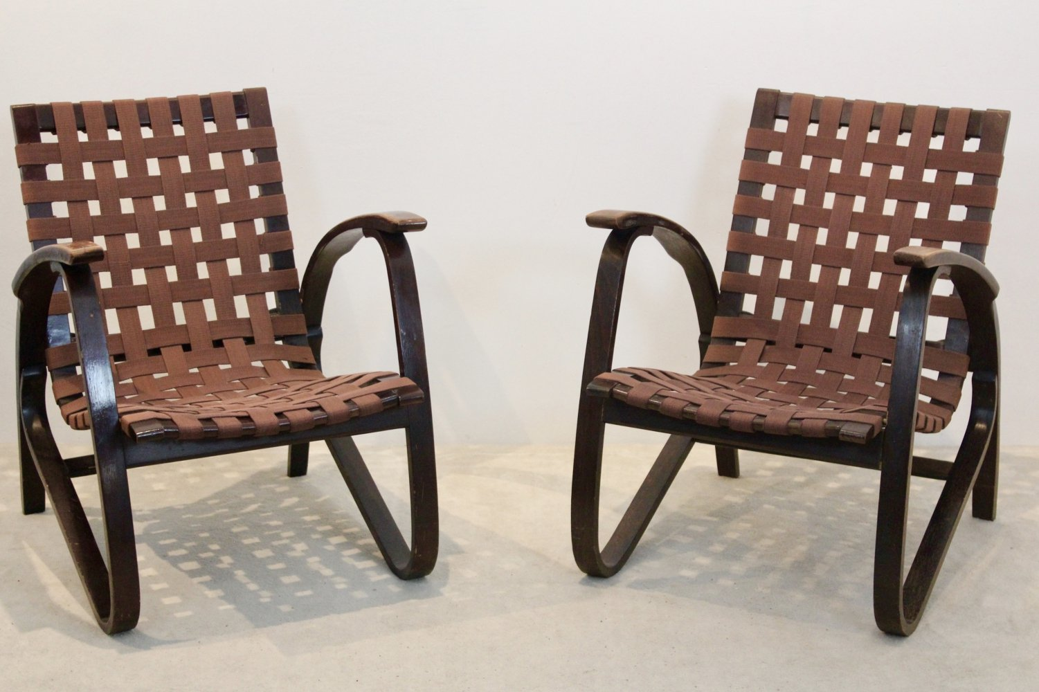 Pair of Bentwood Armchairs by Jan Vaněk for UP Závody, Czechoslovakia