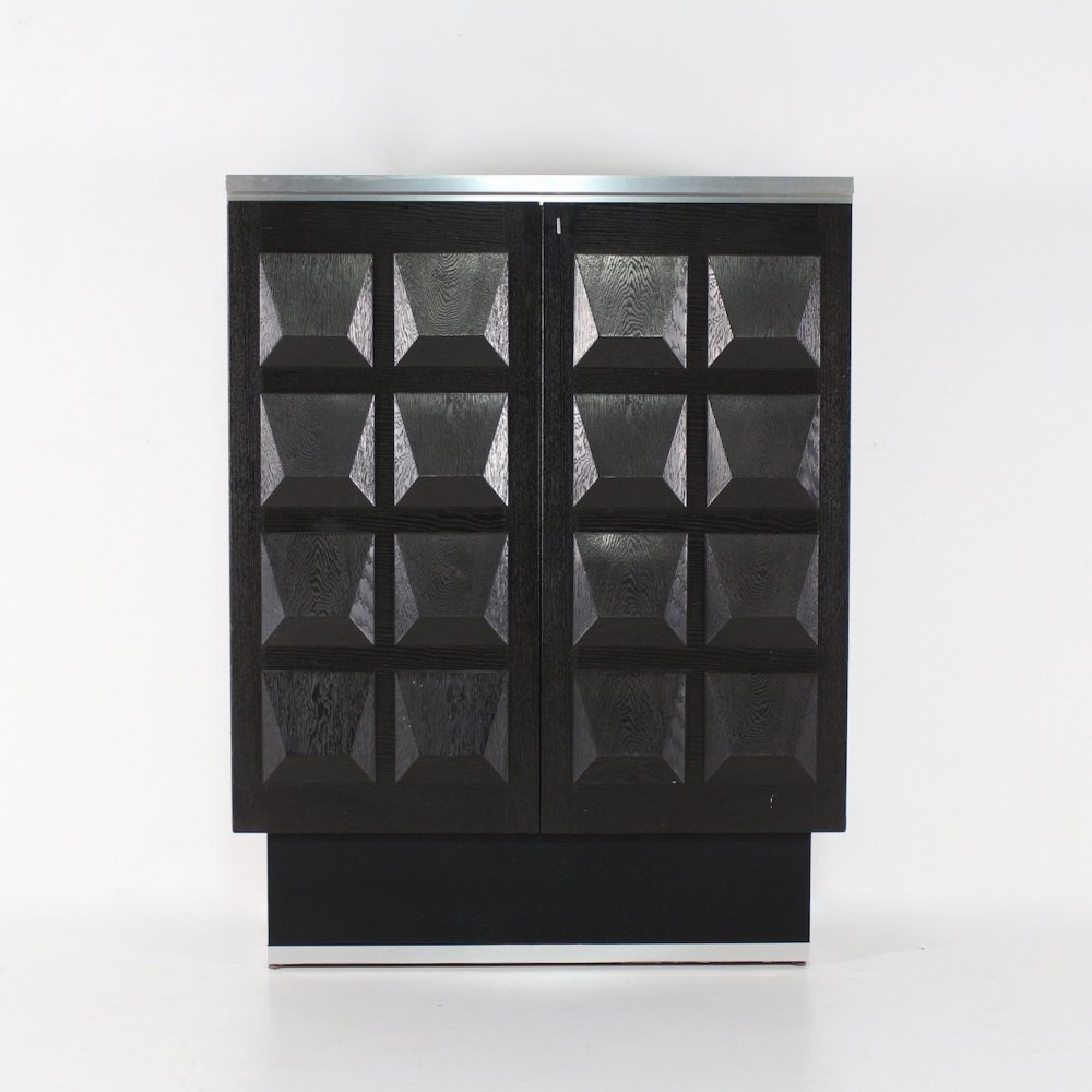 Black ebonized brutalist cabinet