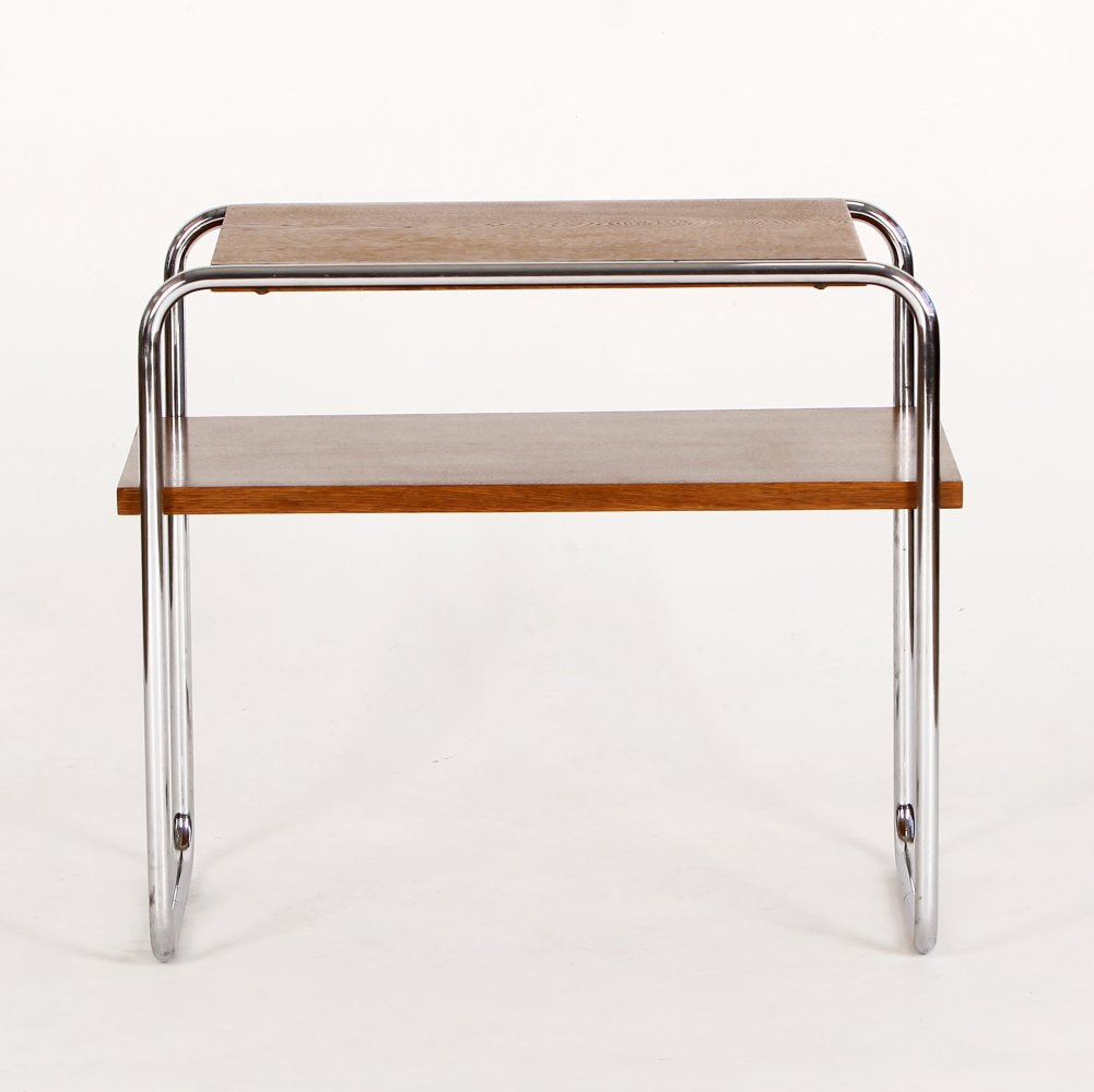 Bauhaus Chrome & Oak Side Table, 1930s