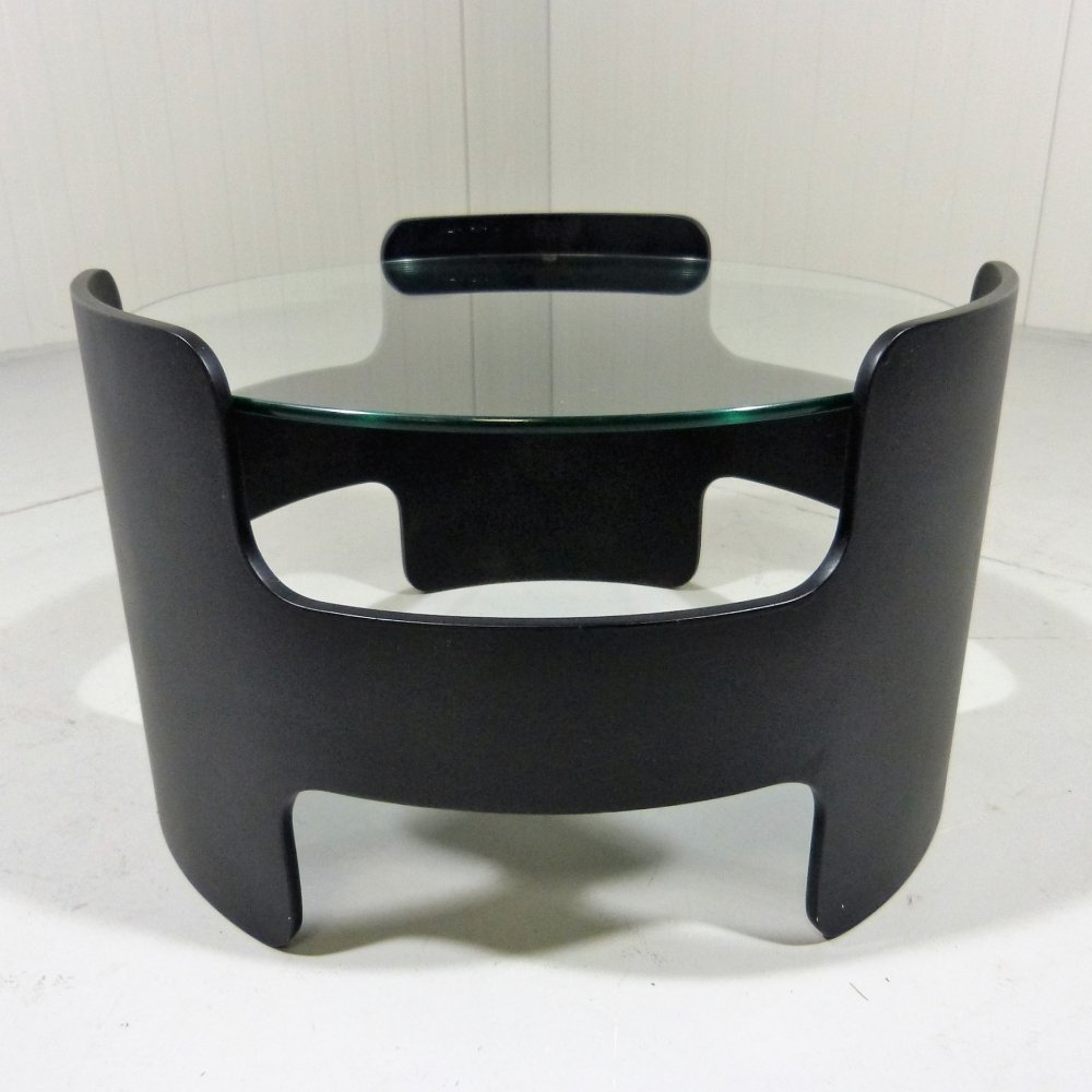 Black plywood & glass coffee or side table, 1960