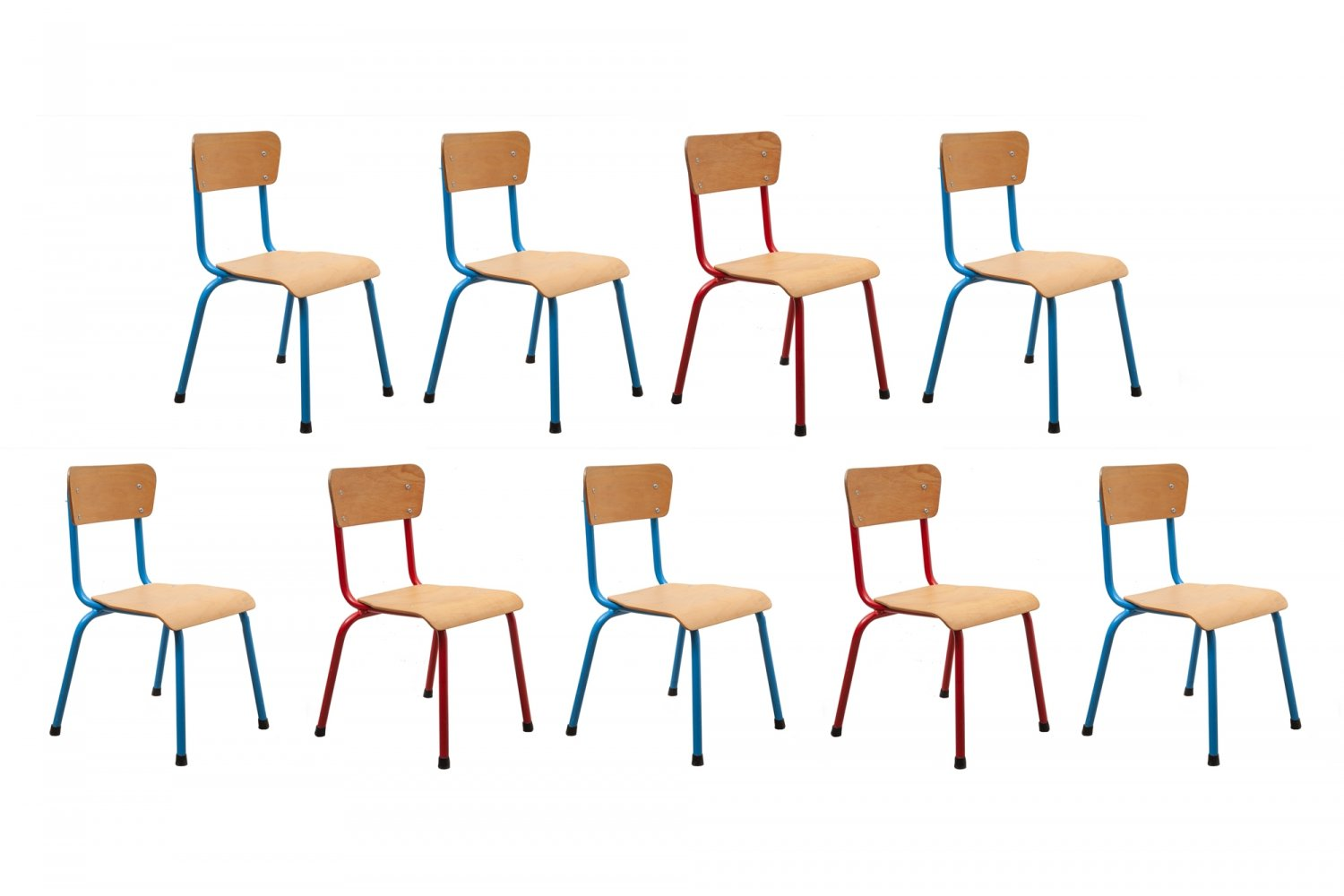 Tubax children's chairs with bent plywood & tubular metal bases