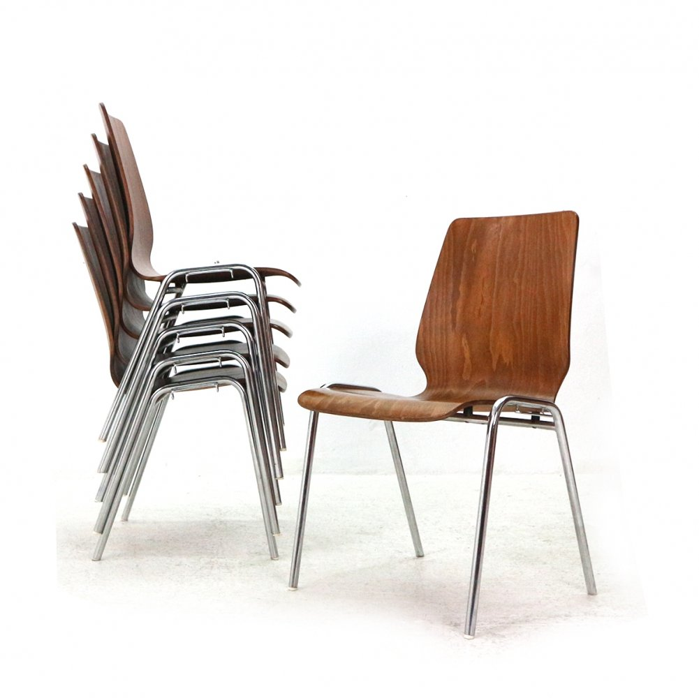 Lot of 6 Mid-Century Stacking Chairs