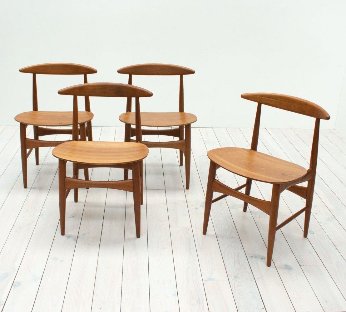 Danish Teak set of 4 Dining Chairs by Mogens Kold, 1960s