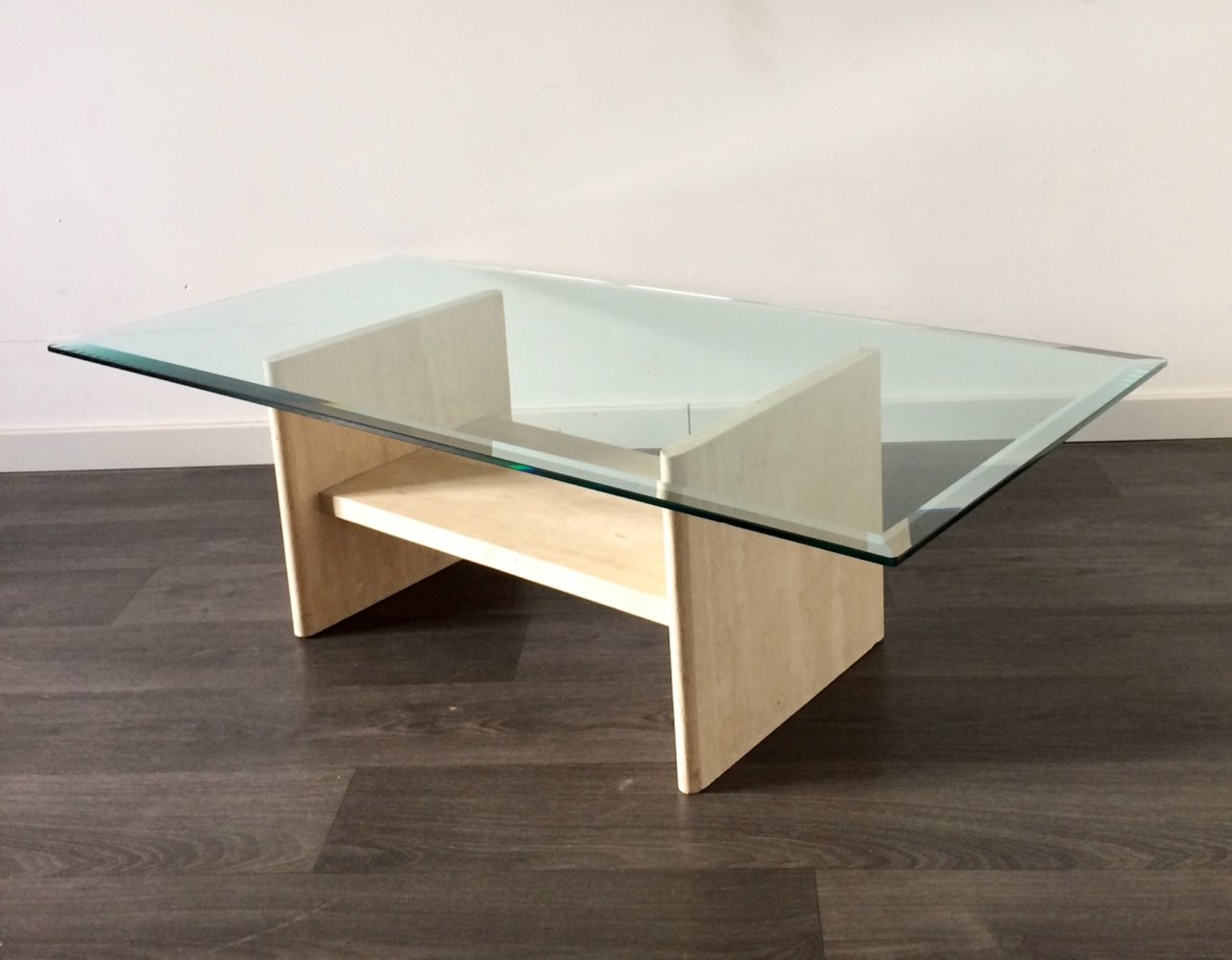 Midcentury Design Glass Top & Marble Base Coffee Table, 1970