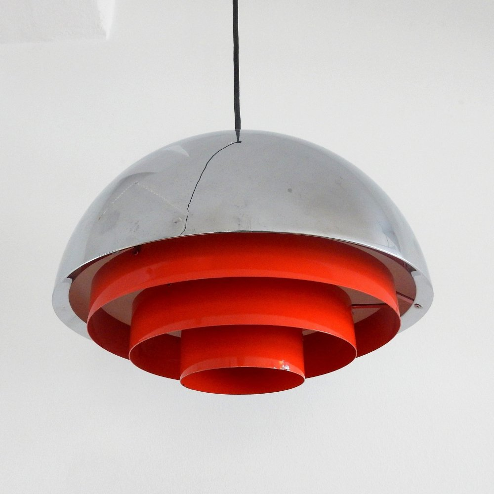 Chrome & orange Milieu Midi pendant lamp by Jo Hammerborg for Fog & Mørup, 1970s
