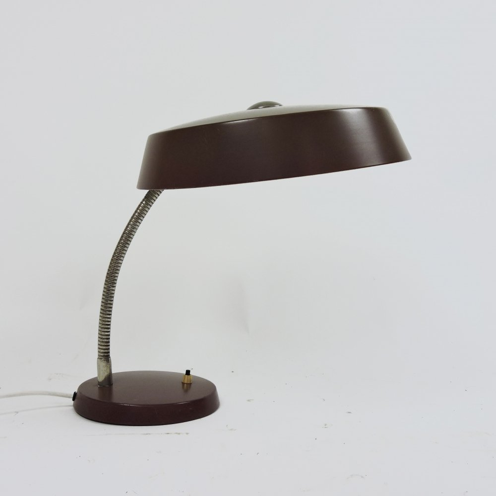 Vintage Adjustable Brown Desk Lamp, 1960s