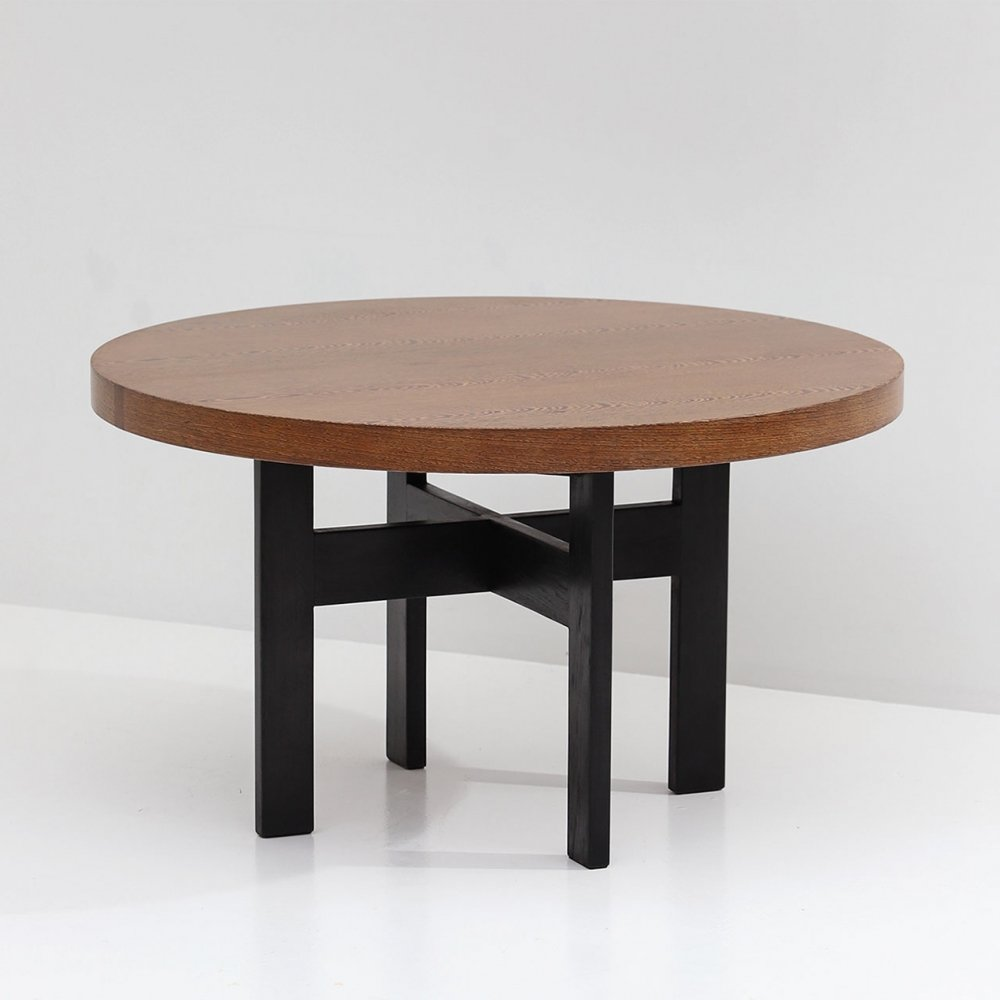 Round decorative wenge dining table, 1970s