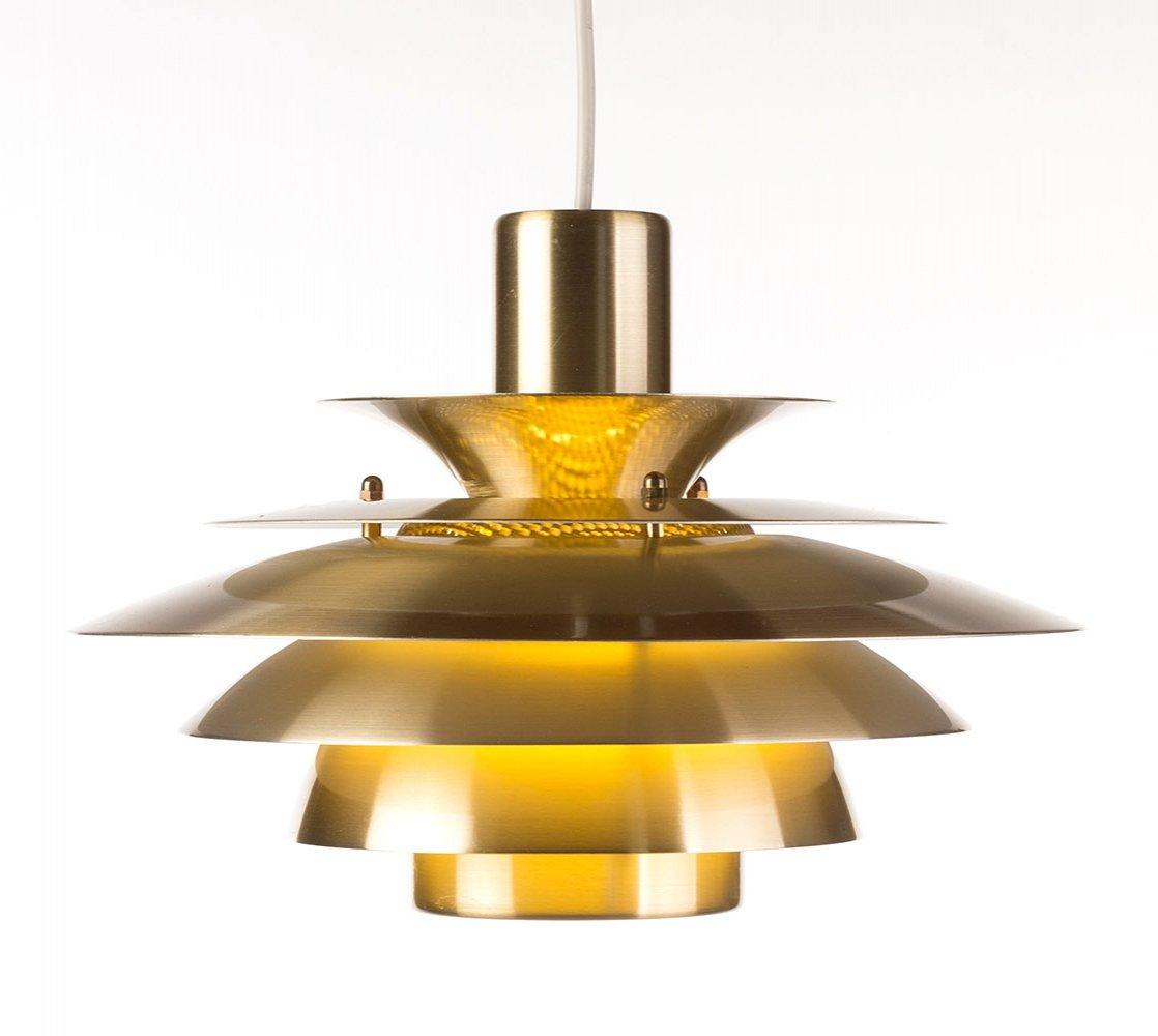 Elegant vintage small Danish brass pendant lamp, 1970