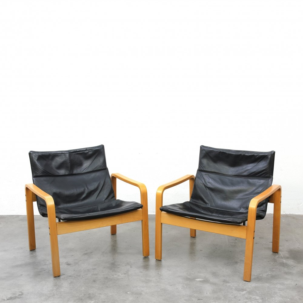 Pair of wooden Ultrex chairs by J. B. Meyer for Kembo, 1970s