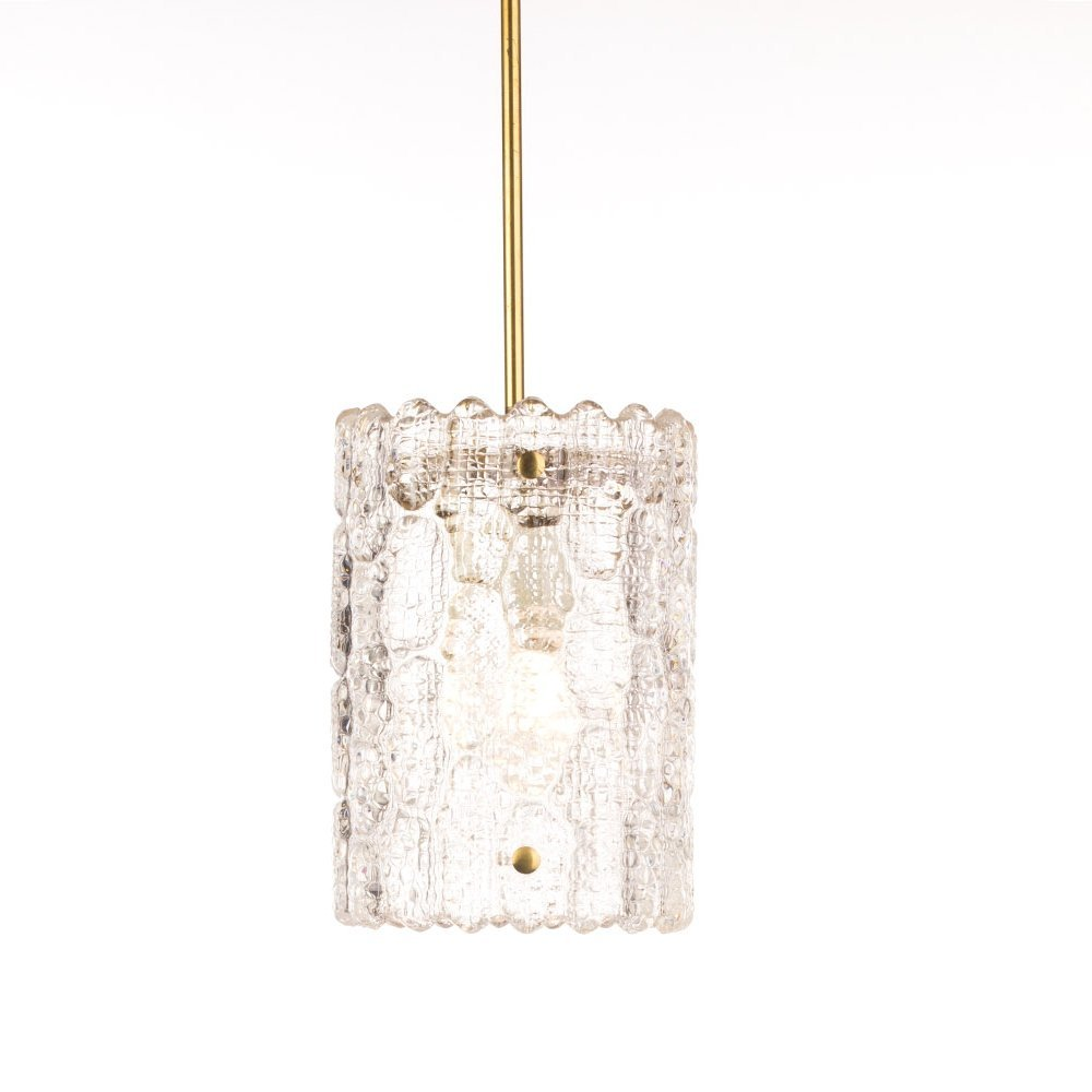 Mid century Orrefors glass & brass pendant by Carl Fagerlund for Lyfa
