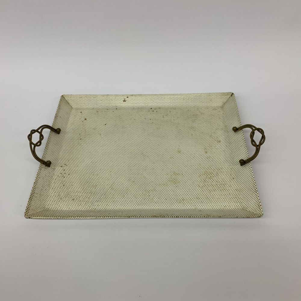Mid-Century perforated metal serving tray with brass details, 1950