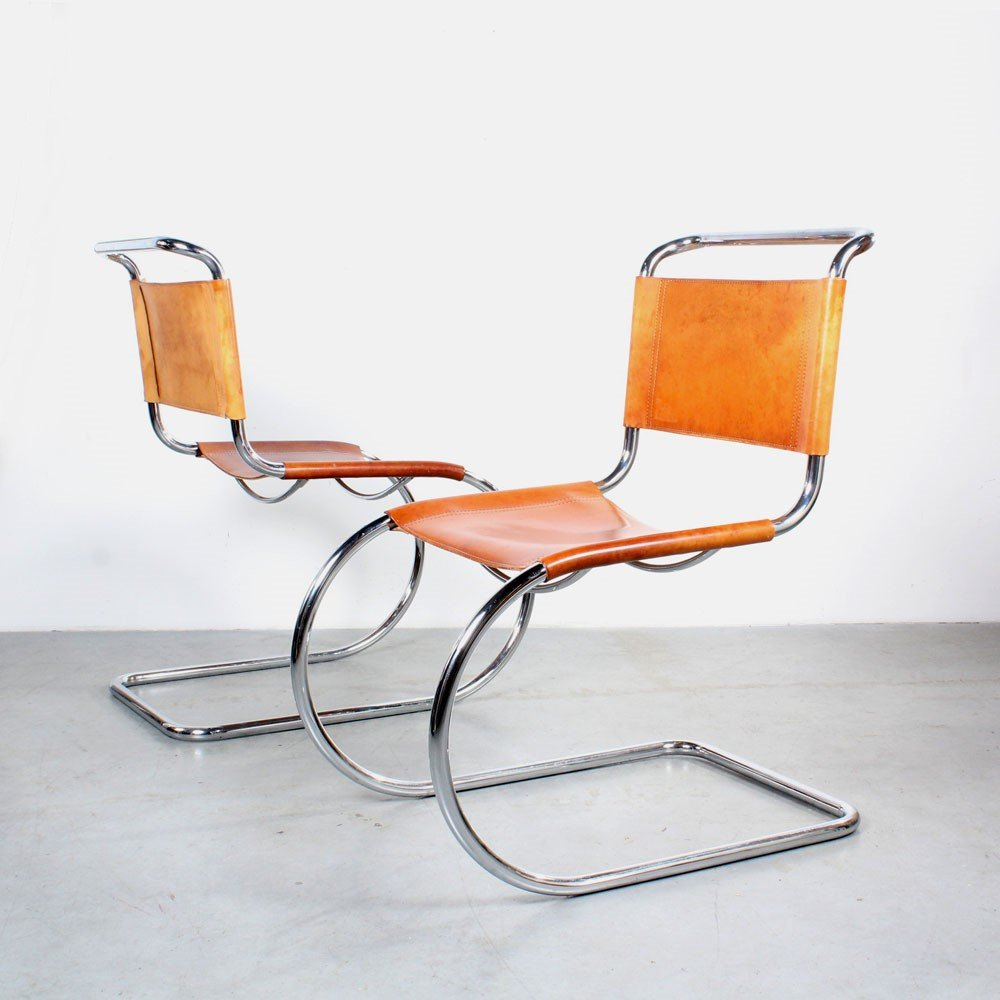 Pair of MR10 dining chairs by Ludwig Mies van der Rohe for Fasem, 1980s