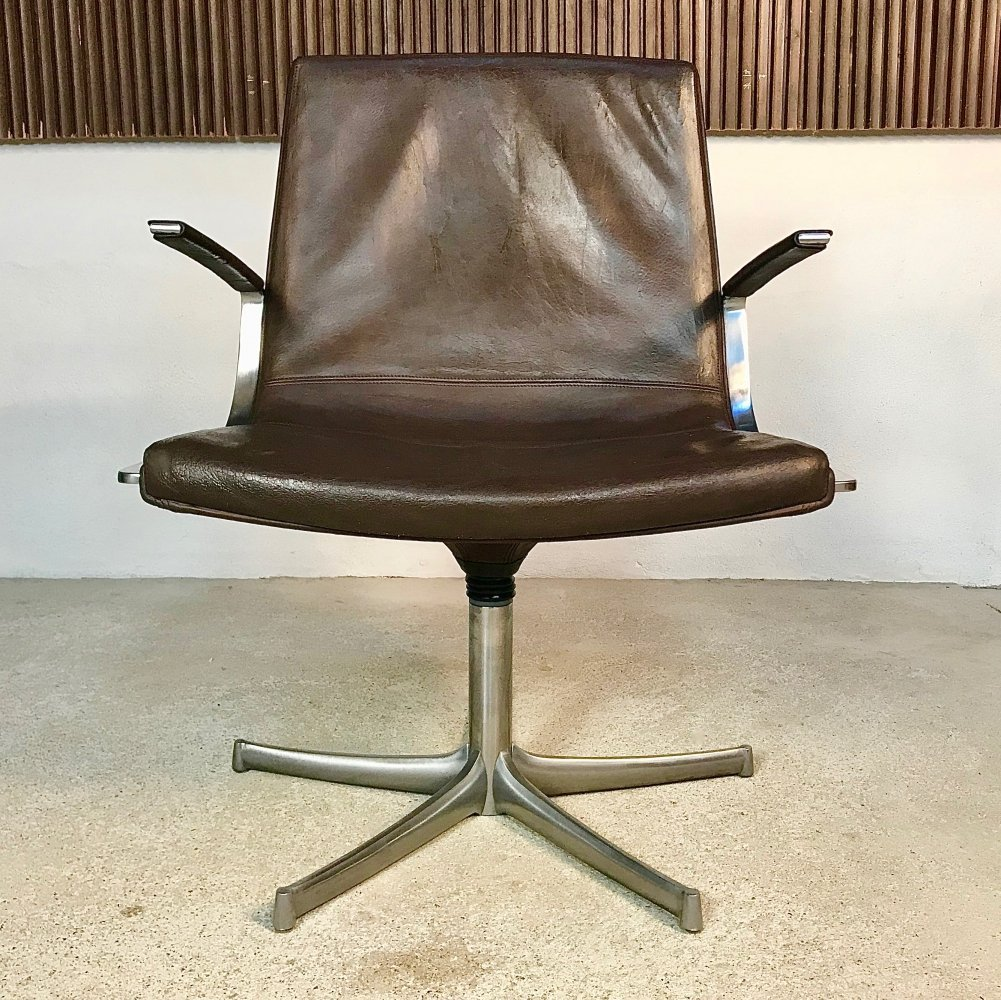 Non-Swivel Leather Chair by Preben Fabricius for Collection Walter Knoll, 1960s