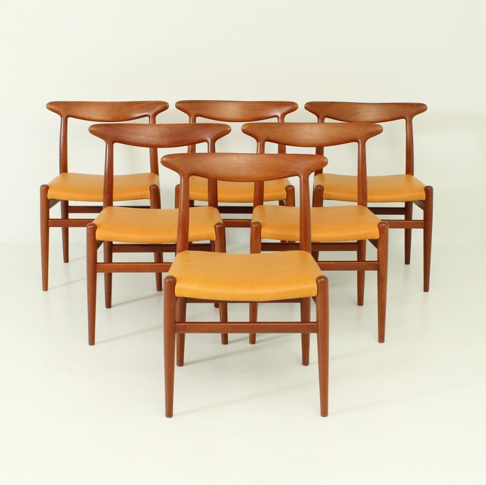 Set of Six W2 Chairs by Hans Wegner for C. M. Madsen, 1953