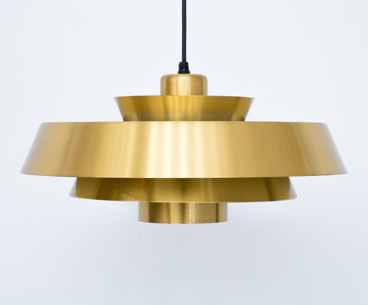 Brass Nova Pendant Light by Jo Hammerborg for Fog Mørup, 1960s