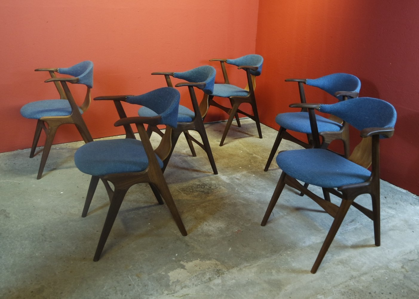 Set of 6 Cowhorn dining chairs by Louis van Teeffelen for Wébé, 1950s