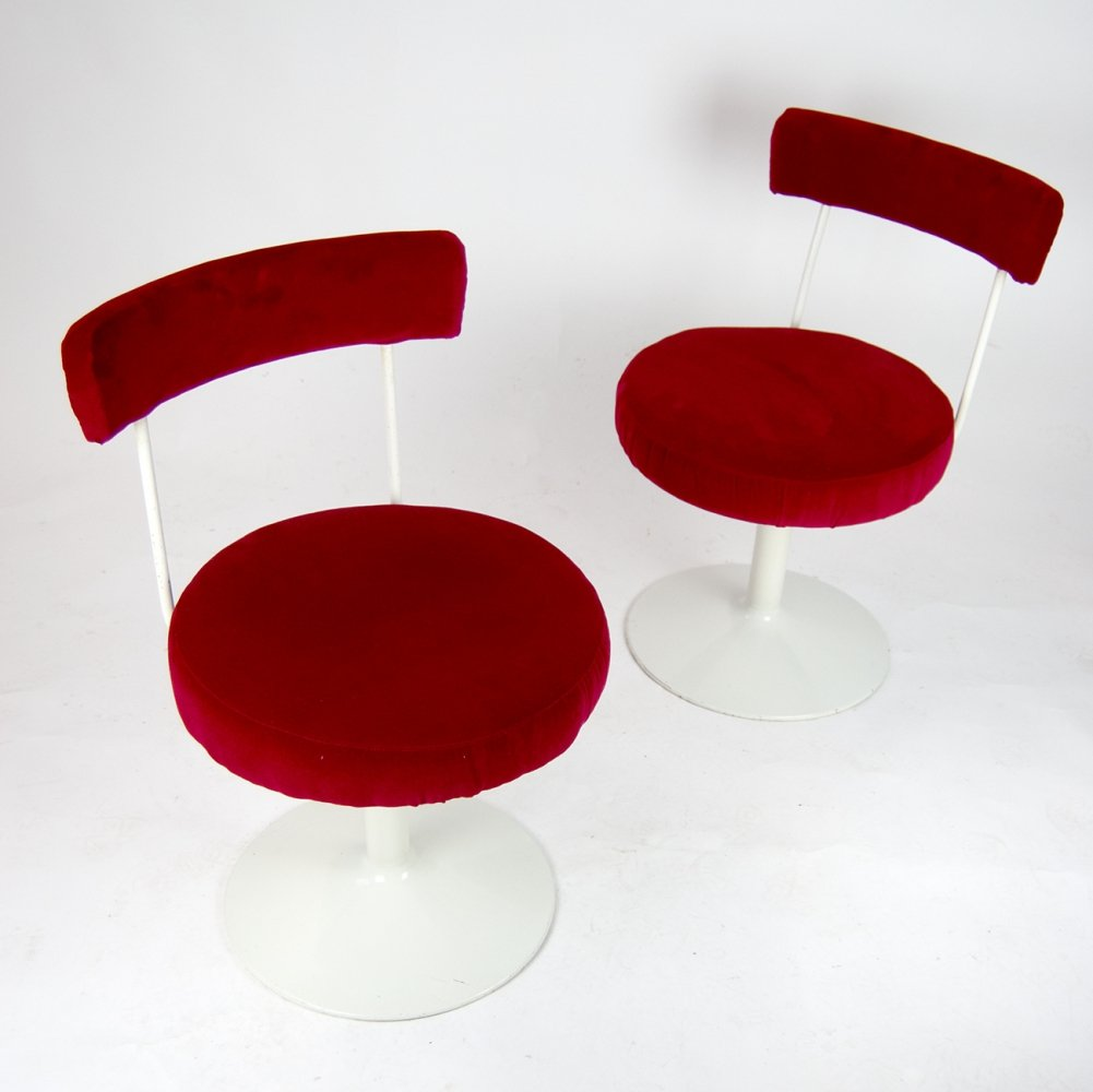 Red velvet Cocktail Chairs from 1960s