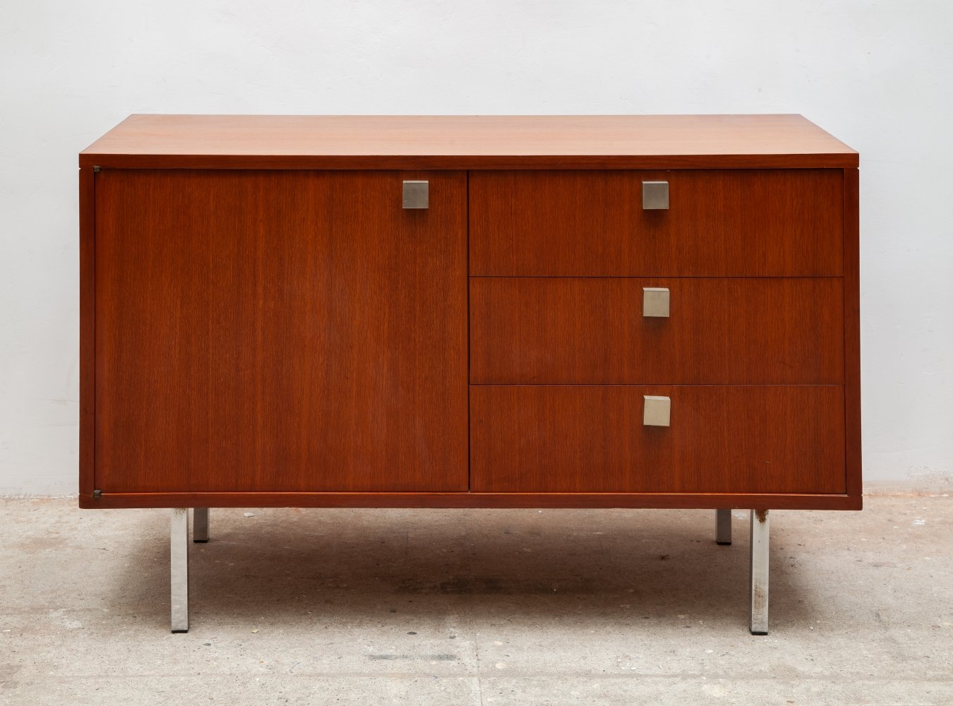 Small vintage walnut sideboard by Alfred Hendrickx, Belgium 1960s