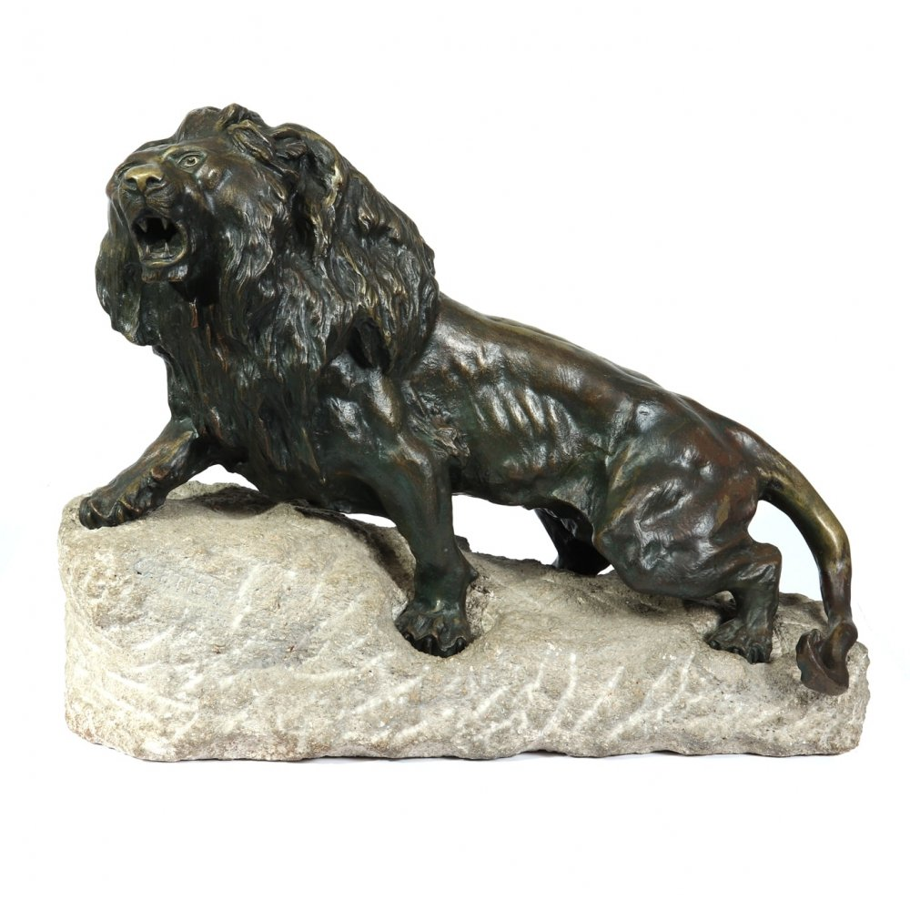 Large Bronze Lion on a Rock by Cartier, c1920