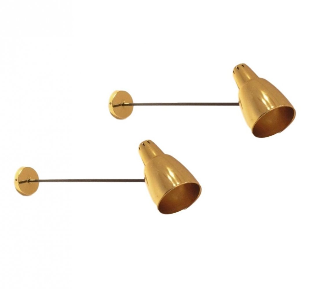 2x Full Brass Arm Lamps
