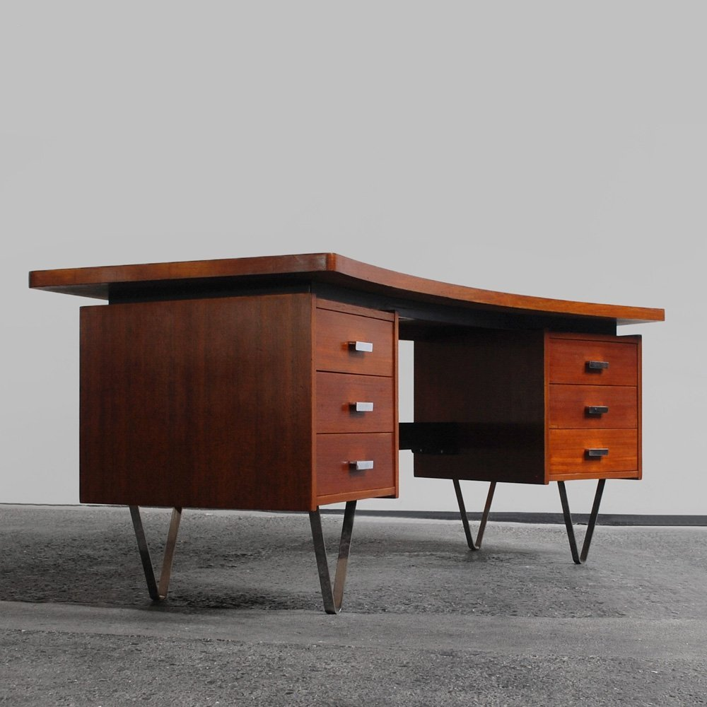 1960s kidney shaped teak desk with chrome V-feet