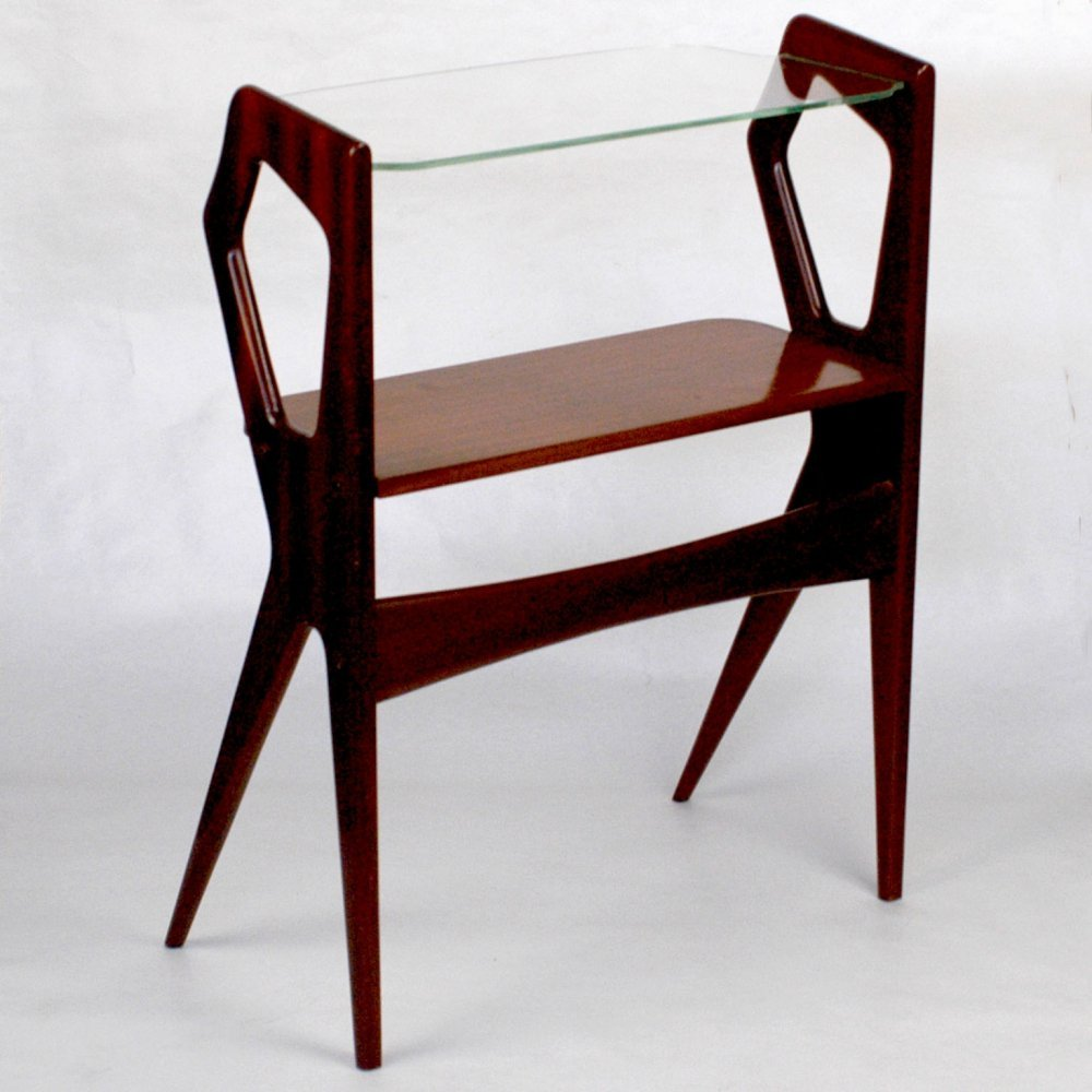 Italian Midcentury Mahogany & Glass Console Side Table