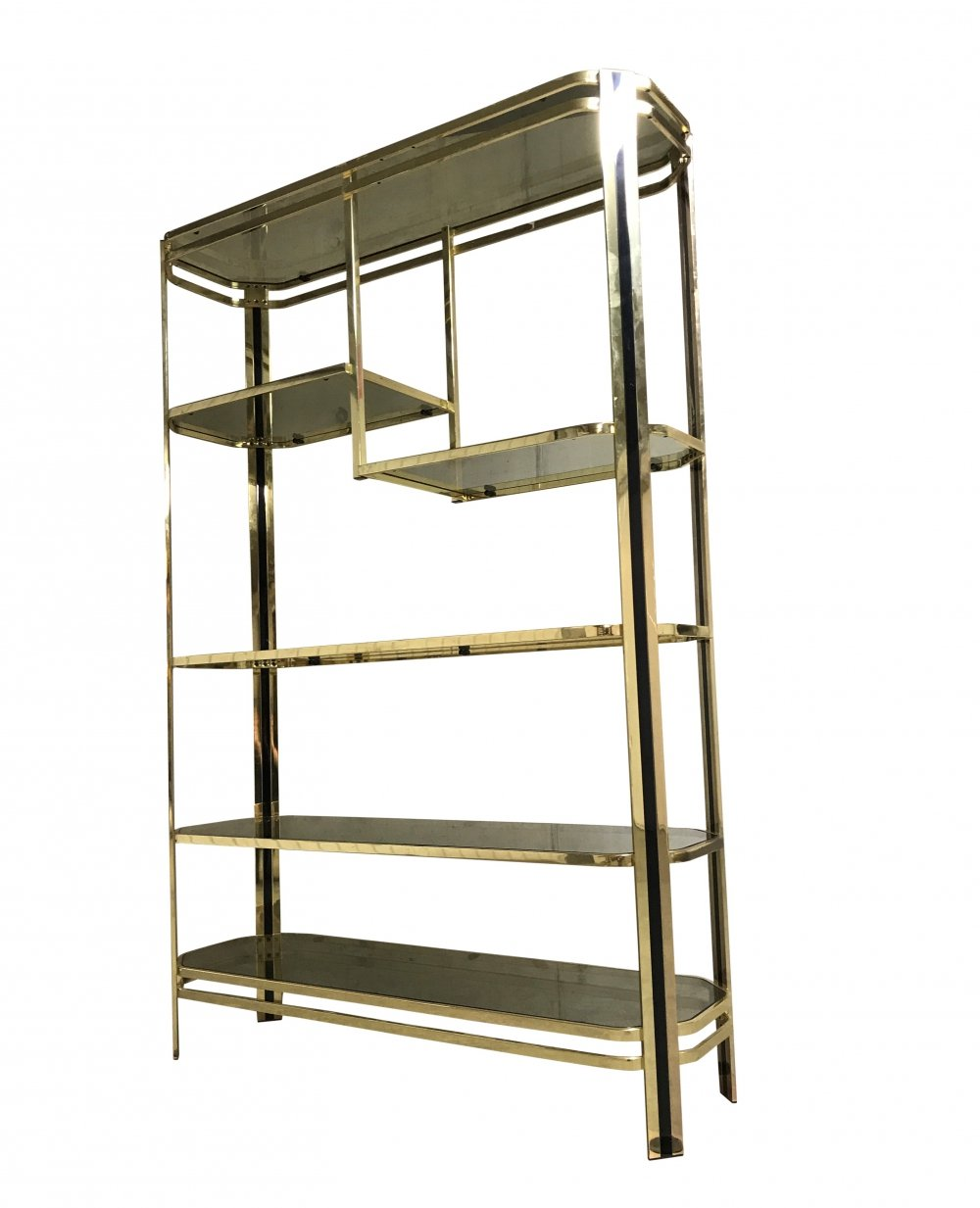 Vintage brass & smoked glass shelving unit, 1970s
