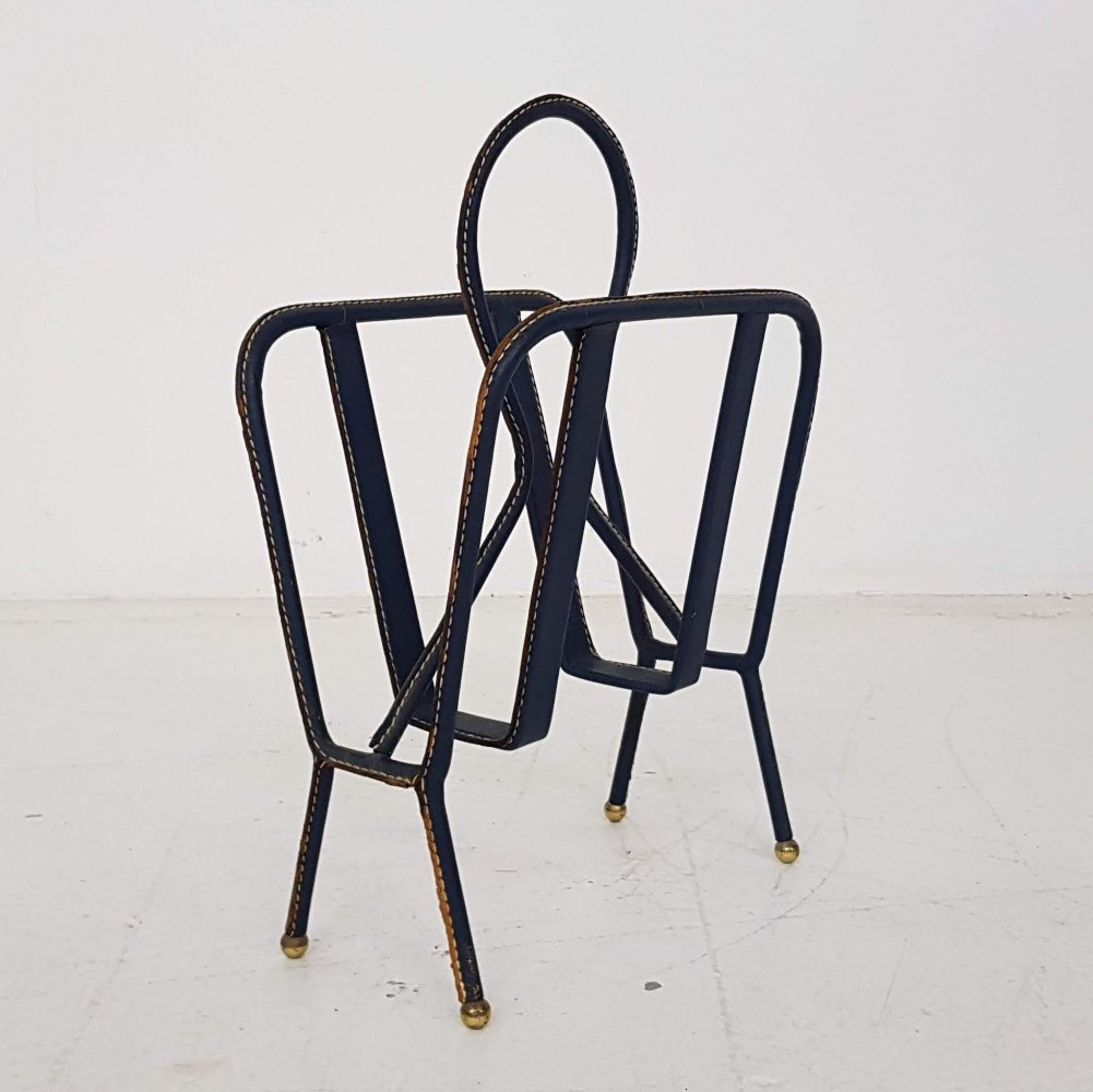 Jaqcues Adnet leather magazine rack, France 1940