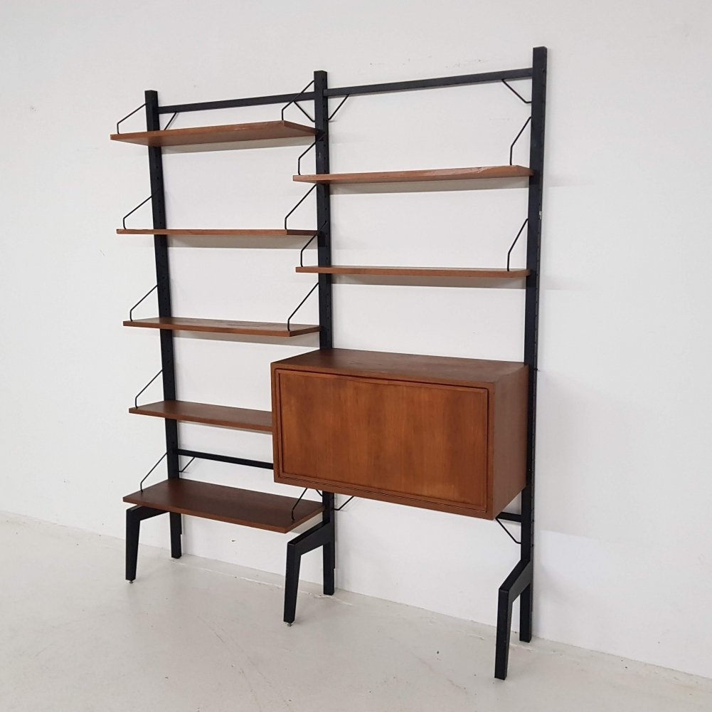 Poul Cadovius for Royal System wall unit in teak & metal, Denmark 1960s