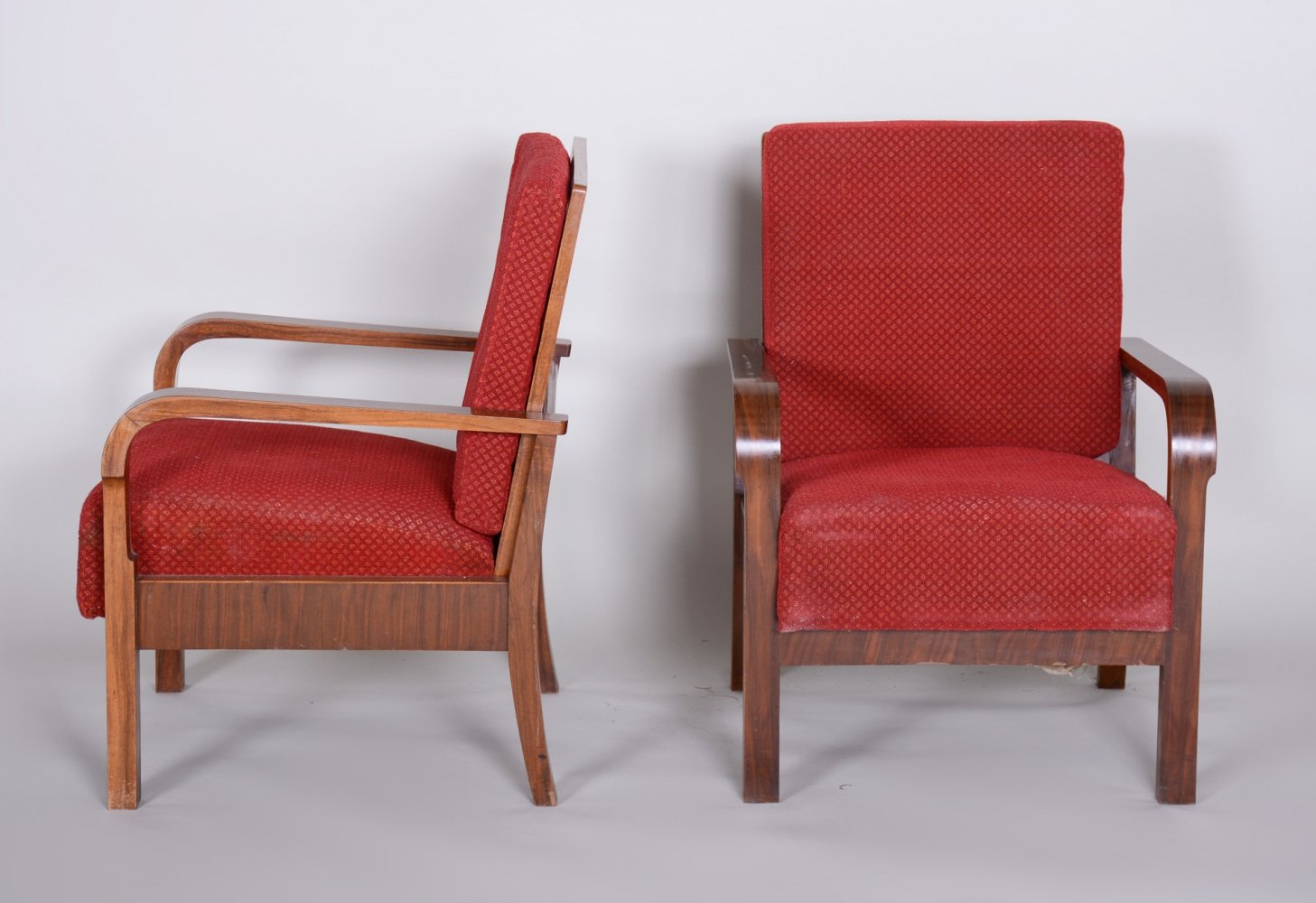 Pair of Walnut Positioning Armchairs, 1930s