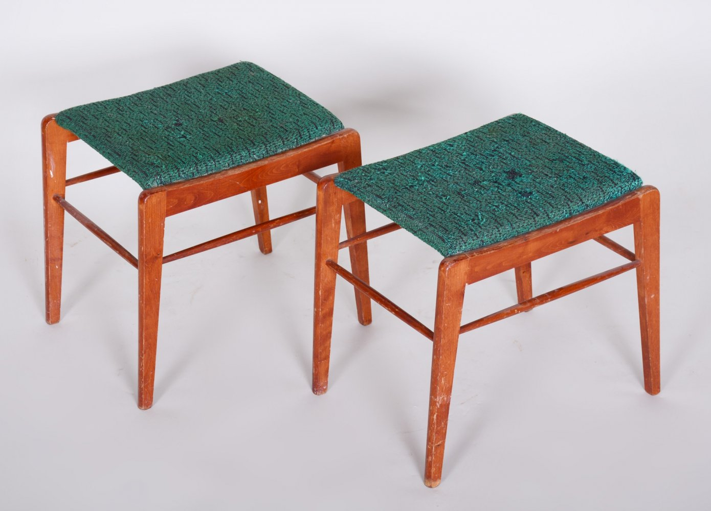 Pair of Mid-Century Green Beech Stools, 1960s
