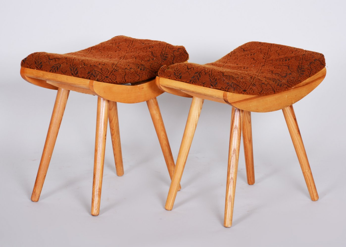 Pair of Midcentury Red Ash Stools, 1960s