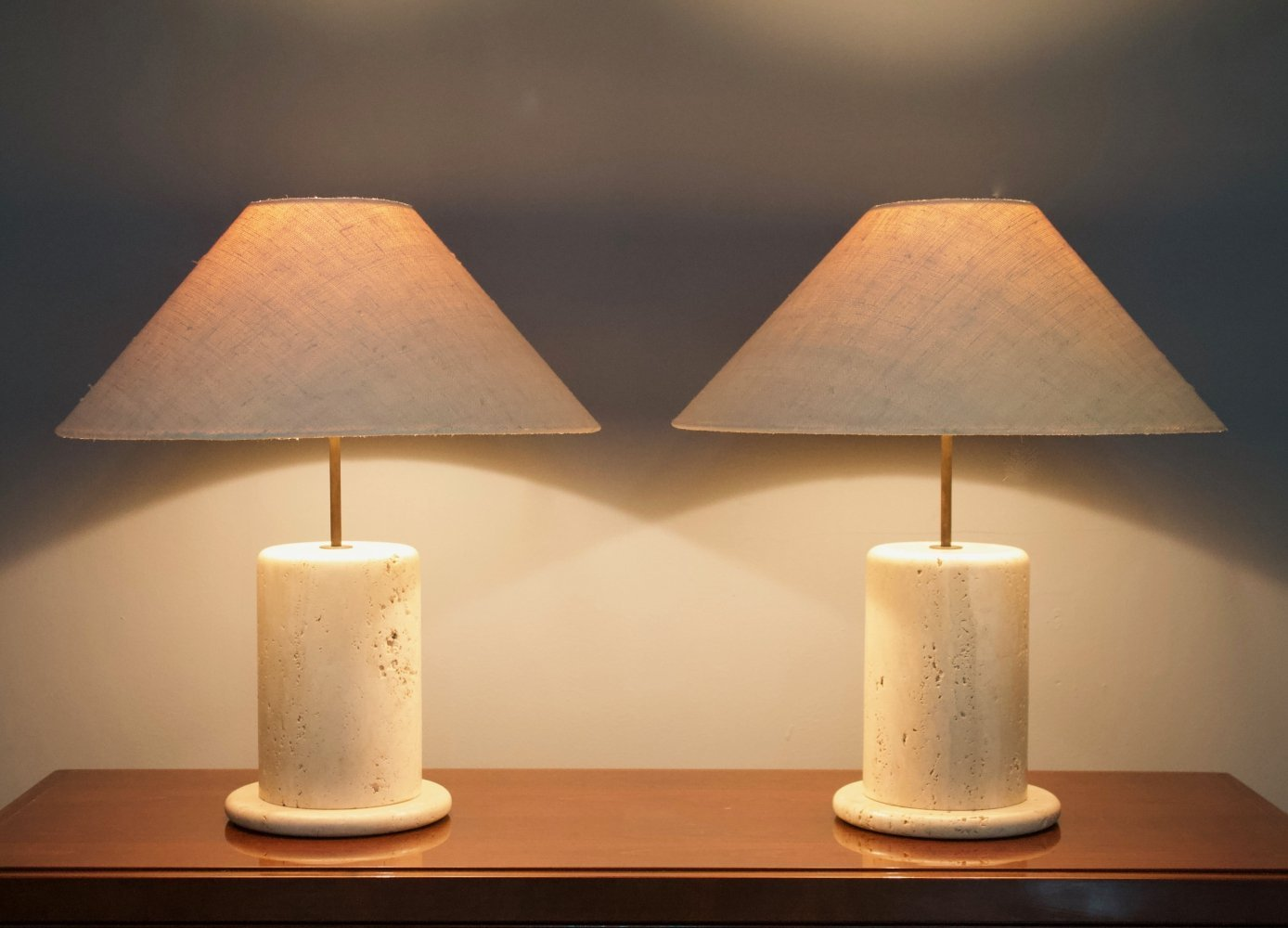 Pair of Italian Travertine Table Lamps, 1970s
