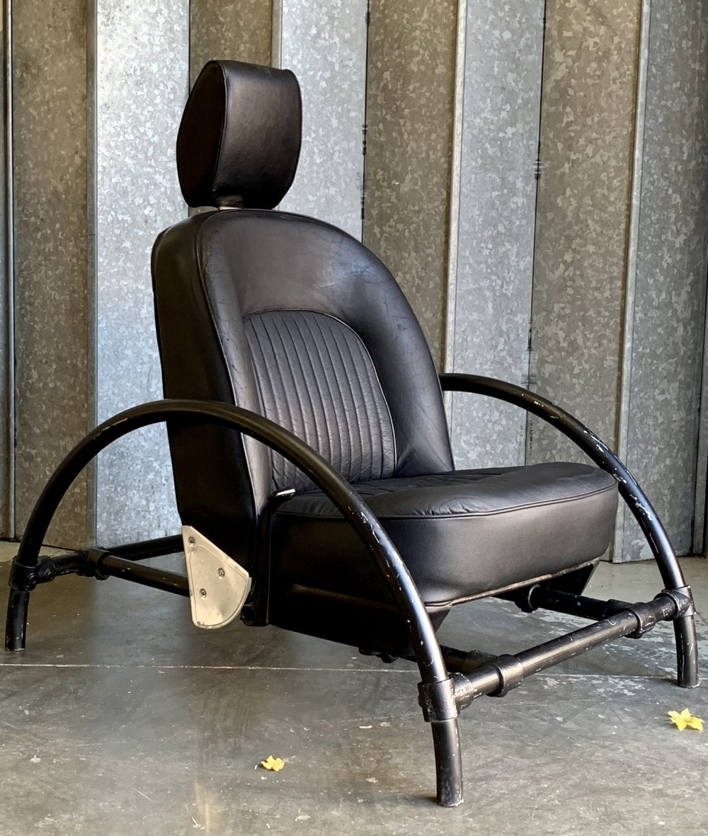 Black leather & black matte frame Rover chair by Ron Arad for One Off design