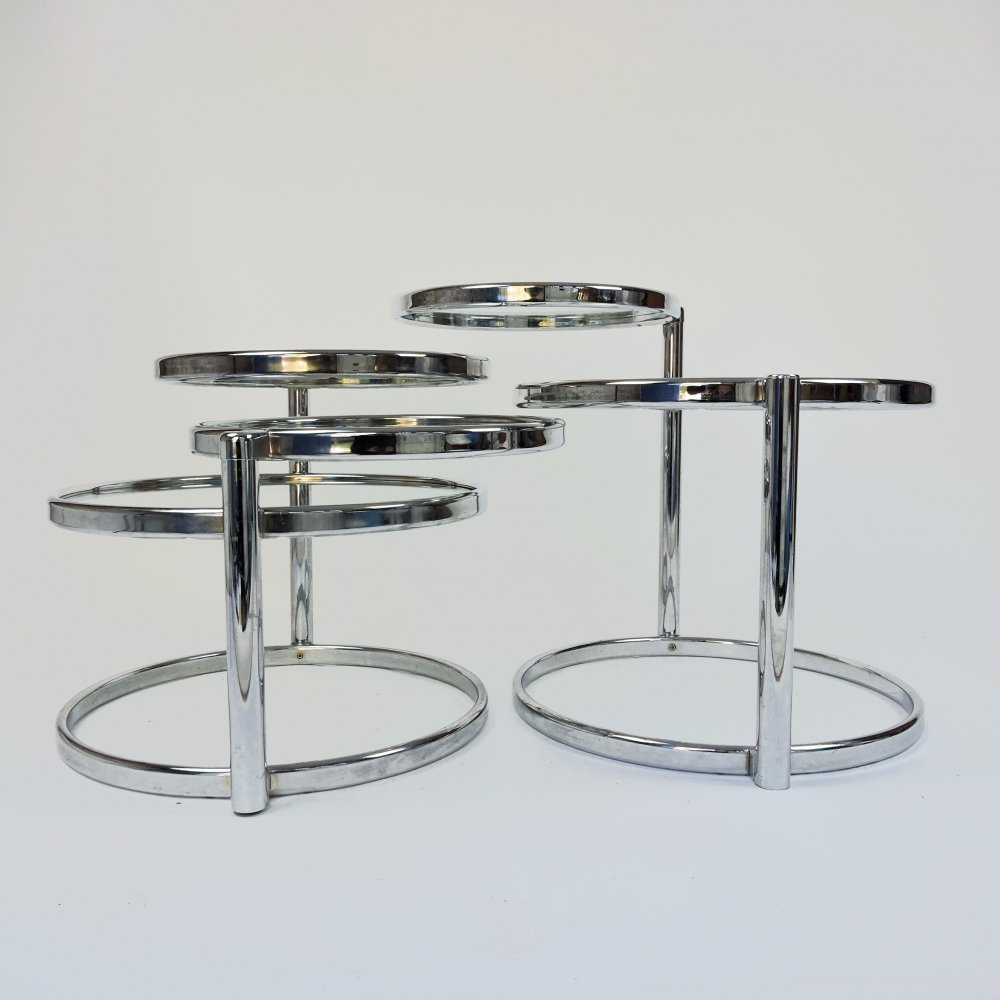 Pair of Chrome & Glass Circular Tables with Moving Shelves, 1980s