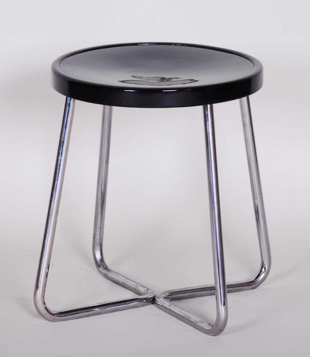 Small Round Bauhaus Black Chrome Stool by Vichr & Spol, 1930s