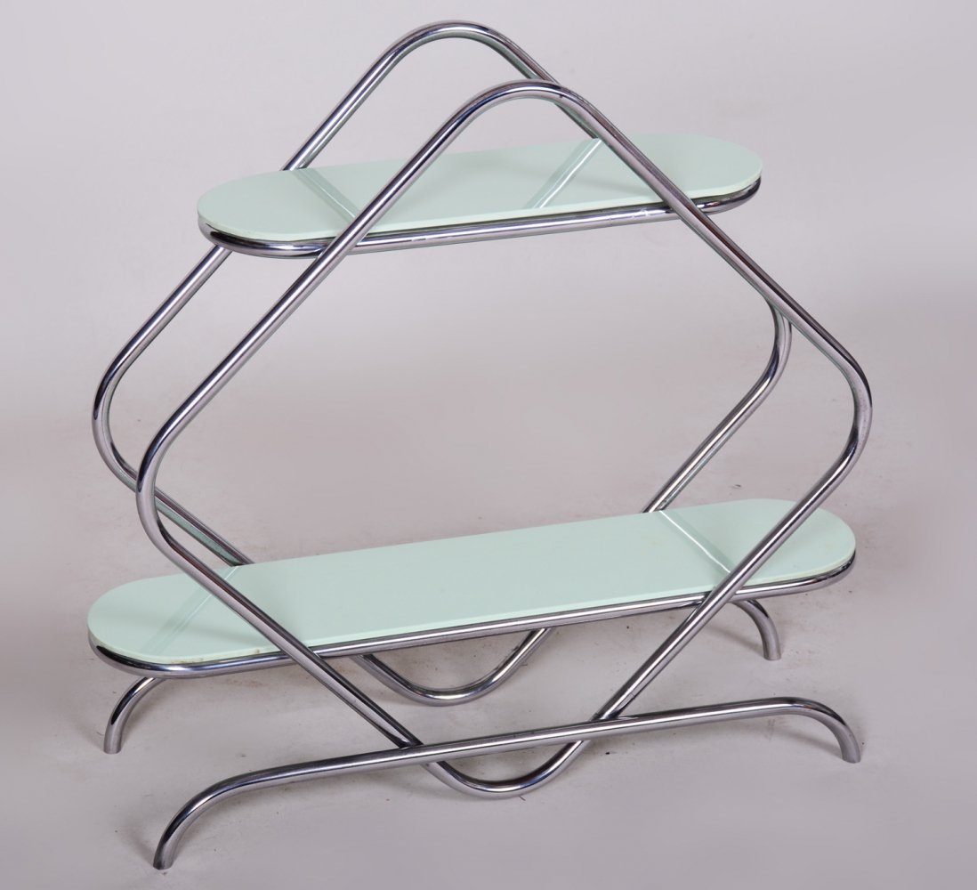 Czech Bauhaus Style Chrome & Opaxit Glass Étagère by Thonet, 1930s