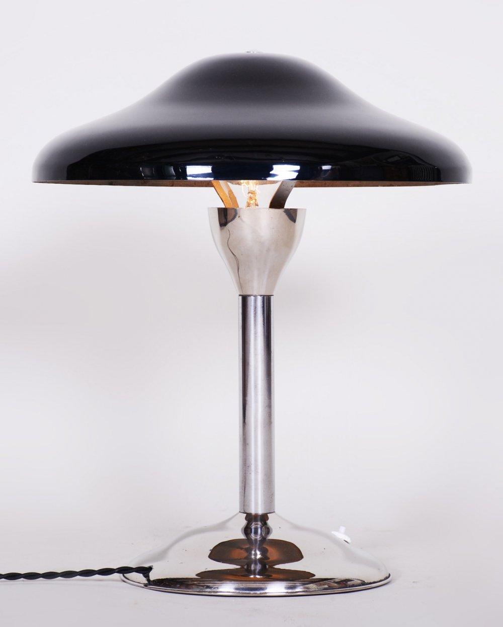 Czech Black Bauhaus Lamp by Architect Frantisek Anyz, 1930s