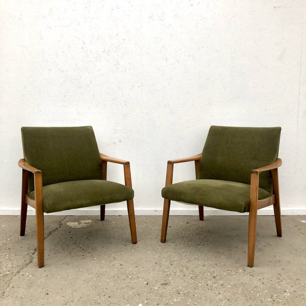 Vintage set of beech wood armchairs, 1960s