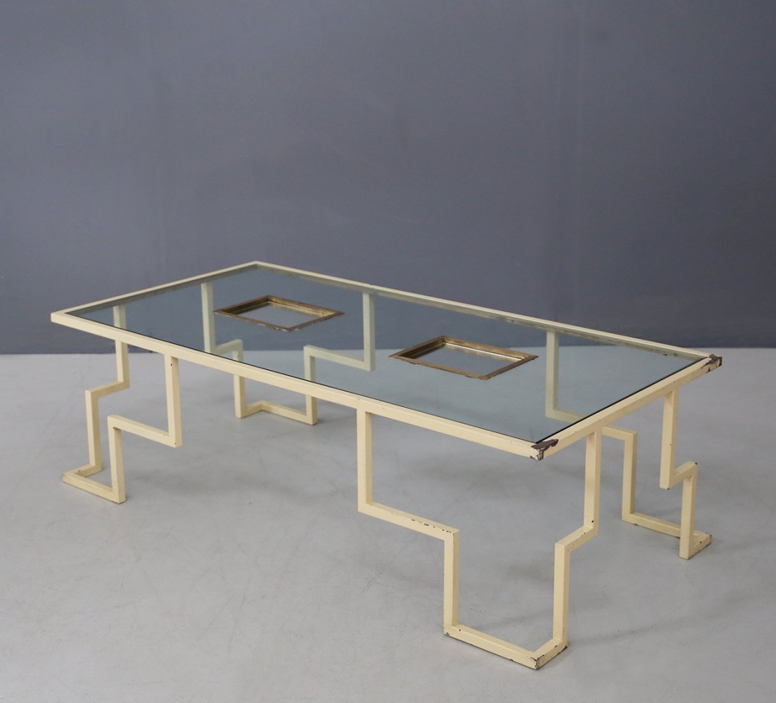 French MidCentury Smoke Table in iron glass & brass, 1940s